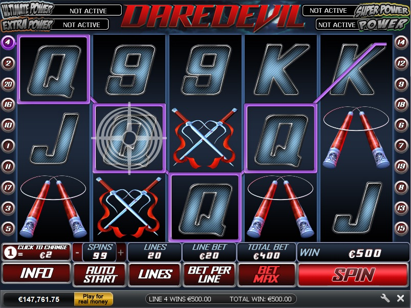 Dare Devil Marvel Slots Game